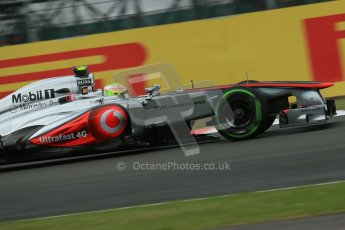 World © Octane Photographic Ltd. F1 British GP - Silverstone, Friday 28th June 2013 - Practice 2. Vodafone McLaren Mercedes MP4/28 - Sergio Perez . Digital Ref : 0726lw7dx1172