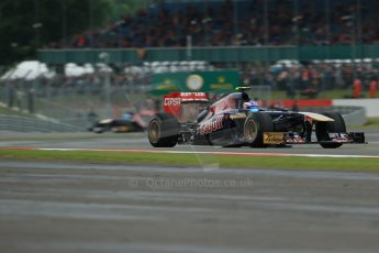 World © Octane Photographic Ltd. F1 British GP - Silverstone, Friday 28th June 2013 - Practice 2. Scuderia Toro Rosso STR 8 - Daniel Ricciardo followed by his team mate Jean-Eric Vergne. Digital Ref : 0726lw7dx1249