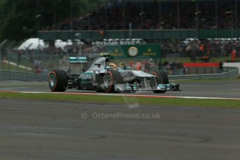 World © Octane Photographic Ltd. F1 British GP - Silverstone, Friday 28th June 2013 - Practice 2. Mercedes AMG Petronas F1 W04 – Lewis Hamilton. Digital Ref : 0726lw7dx1409