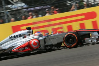World © Octane Photographic Ltd. F1 British GP - Silverstone, Sunday 30th June 2013 - Race. Vodafone McLaren Mercedes MP4/28 - Jenson Button. Digital Ref : 0734lw1d2595