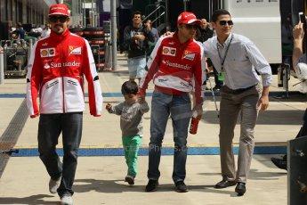 World © Octane Photographic Ltd. F1 British GP - Silverstone, Sunday 30th June 2013 – F1 Paddock. Fernando Alonso and Felipe Massa - Scuderia Ferrari. Digital Ref : 0733lw1d1886