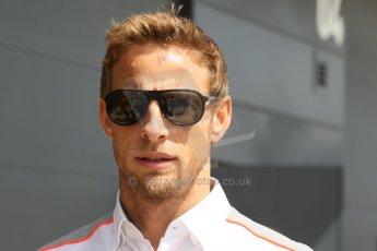 World © Octane Photographic Ltd. F1 British GP - Silverstone, Sunday 30th June 2013 – F1 Paddock. Jenson Button - Vodafone McLaren Mercedes. Digital Ref : 0733lw1d1908