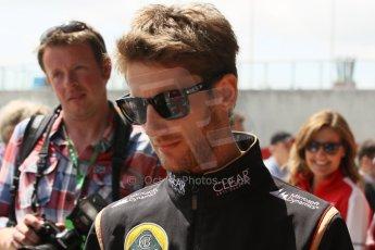 World © Octane Photographic Ltd. F1 British GP - Silverstone, Sunday 30th June 2013 – F1 Paddock. Romain Grosjean - Lotus F1 Team. Digital Ref : 0733lw1d1974