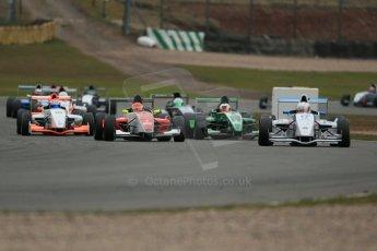 World © Octane Photographic Ltd. 2013 Protyre Formula Renault Championship – Donington Park, Sunday 14th April 2013 - Race 2. Jorge Cevallos - MGR Motorsport leads the pack. Digital ref : 0635lw1d3555