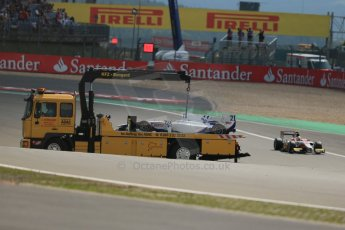 World © Octane Photographic Ltd. GP2 German GP, Nurburgring, 6th July 2013. Race 1. Qualifying. Kevin Ceccon's car is recovered by the recovery truck - Trident Racing. Digital Ref : 0746lw1d7791