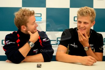 World © Octane Photographic Ltd. GP2 British GP, Silverstone, Friday 28th June 2013. Qualifying press conference. Marcus Ericsson - DAMS, Sam Bird - Russian Time. Digital Ref :