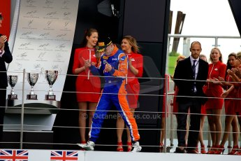 World © Octane Photographic Ltd./Chris Enion. GP2 British GP, Silverstone, Sunday 30th June 2013. Race 2 winner Jon Lancaster - Hilmer Motorsport walks onto the podium. Digital Ref : 0732ce1d9555
