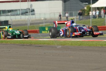 World © Octane Photographic Ltd. GP2 British GP, Silverstone, Sunday 30th June 2013. Race 2. Jolyon Palmer - Carlin and Sergio Canamasas – EQ8 Caterham Racing. Digital Ref : 0732lw1d1870