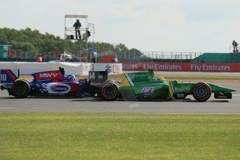 World © Octane Photographic Ltd. GP2 British GP, Silverstone, Sunday 30th June 2013. Race 2. Sergio Canamasas – EQ8 Caterham Racing under pressure from Jolyon Palmer - Carlin. Digital Ref : 0732lw1d2027