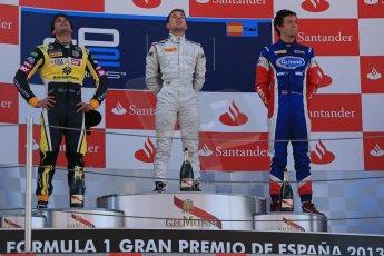 World © Octane Photographic Ltd. GP2 Spanish GP, Circuit de Catalunya, Saturday 11th May 2013. Race 1. Robin Frijns - Hilmer motorsport and Felipe Nasr and Jolyon Palmer - Carlin. Digital Ref : 0666cb1d1718