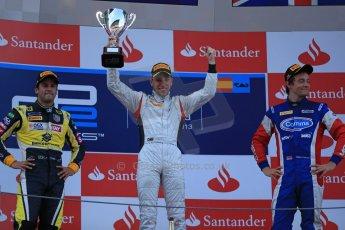 World © Octane Photographic Ltd. GP2 Spanish GP, Circuit de Catalunya, Saturday 11th May 2013. Race 1. Robin Frijns - Hilmer motorsport and Felipe Nasr and Jolyon Palmer - Carlin. Digital Ref : 0666cb1d1736