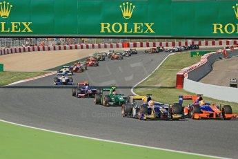 World © Octane Photographic Ltd. GP2 Spanish GP, Circuit de Catalunya, Sunday 12th May 2013. GP2 Race 2. Start of race pack. Digital Ref : 0670cb1d2183