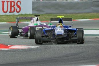 World © Octane Photographic Ltd. GP3 Qualifying - Saturday 11th May 2013 Dallara GP3/13 - Circuit de Catalunya. Carlin – Nick Yelloly and Status Grand Prix – Josh Webster. Digital ref : 0669cb1d0356