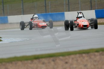 World © Octane Photographic Ltd. Donington Park 80th Anniversary Meeting (March 1933 – March 2013). HSCC Historic Formula Ford Championship in association with Avon Tyres. Benn Simms – JMR 7 Jomo and Nelson Rowe – Crossle 20F. Digital Ref : 0591lw1d6383