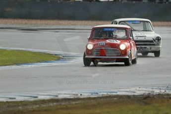 World © Octane Photographic Ltd. Donington Park 80th Anniversary Meeting (March 1933 – March 2013). HSCC/HRSR ByBx Historic Touring Car Championship. Pete Morgan – Austin Mini and John Avill – Ford Lotus Cortina. Digital Ref : 0592lw1d6724