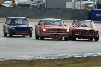 World © Octane Photographic Ltd. Donington Park 80th Anniversary Meeting (March 1933 – March 2013). HSCC/HRSR ByBx Historic Touring Car Championship. Paul Hopkinson – Alfa Romeo Giulia Sprint GT, Richard Dutton – Ford Mustang and David Heale – Hilman Imp all fighting for position at Redgate. Digital Ref : 0592lw1d6728