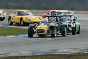 World © Octane Photographic Ltd. Donington Park 80th Anniversary Meeting (March 1933 – March 2013). HSCC Historic Road Sports Championship supported by Witchampton Garage (Inc. Class B2 Guards Trophy). Simon Haughton's Lotus 7 and Jonathan Stringer's Lotus 7 Series 2 leads the pack through Redgate. Digital Ref : 0594lw1d6871