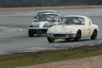 World © Octane Photographic Ltd. Donington Park 80th Anniversary Meeting (March 1933 – March 2013). HSCC Historic Road Sports Championship supported by Witchampton Garage (Inc. Class B2 Guards Trophy). Peter Shaw – Lotus Elan S1 and Roger Waite – Lotus Elan S1. Digital Ref : 0594lw1d6896