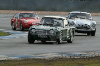 World © Octane Photographic Ltd. Donington Park 80th Anniversary Meeting (March 1933 – March 2013). HSCC Historic Road Sports Championship supported by Witchampton Garage (Inc. Class B2 Guards Trophy). Andy Somerville - Triumph TR4, Samuel Thomas – AC Aceca and Ian Burford – MG Lenham Le Mans Coupe. Digital Ref : 0594lw1d6916