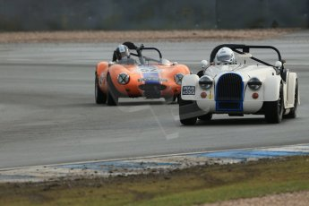 World © Octane Photographic Ltd. Donington Park 80th Anniversary Meeting (March 1933 – March 2013). HSCC Historic Road Sports Championship supported by Witchampton Garage (Inc. Class B2 Guards Trophy). Tim Pearce – Morgan Plus 8 and Justin Murphy – Ginetta G4. Digital Ref : 0594lw1d6931