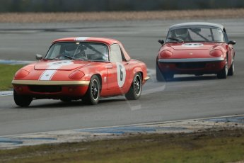 World © Octane Photographic Ltd. Donington Park 80th Anniversary Meeting (March 1933 – March 2013). HSCC Historic Road Sports Championship supported by Witchampton Garage (Inc. Class B2 Guards Trophy). Larry Kennedy – Lotus Elan S4 and Frazer Gibney – Lotus Elan S1. Digital Ref : 0594lw1d6939