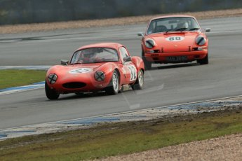 World © Octane Photographic Ltd. Donington Park 80th Anniversary Meeting (March 1933 – March 2013). HSCC Historic Road Sports Championship supported by Witchampton Garage (Inc. Class B2 Guards Trophy). Patrick Ward-Booth – Ginetta G4 and John Shaw – Porsche 911. Digital Ref : 0594lw1d6973