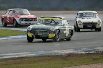 World © Octane Photographic Ltd. Donington Park 80th Anniversary Meeting (March 1933 – March 2013). HSCC Historic Road Sports Championship supported by Witchampton Garage (Inc. Class B2 Guards Trophy). Peter Boyes/Jan Boyes – MGB, Steve Naish – MGB and Johan Denekamp – Alfa Romeo GTV. Digital Ref : 0594lw1d7064