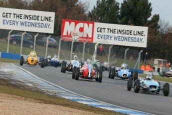 World © Octane Photographic Ltd. Donington Park 80th Anniversary Meeting (March 1933 – March 2013). HSCC/FJHRA Historic Formula Junior Championship – Race B, Rear Engine cars, Classes C-E. The pack dive into Redgate. Digital Ref : 0596lw1d7204
