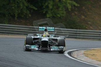 World © Octane Photographic Ltd. F1 Hungarian GP - Hungaroring. Thursday. 25th July 2013. F1 Qualifying. Mercedes AMG Petronas F1 W04 - Nico Rosberg. Digital Ref : 0764lw1d4264