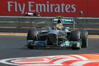 World © Octane Photographic Ltd. F1 Hungarian GP - Hungaroring. Friday 26th July 2013. F1 Practice 1. Mercedes AMG Petronas F1 W04 – Lewis Hamilton. Digital Ref : 0758lw1d0843