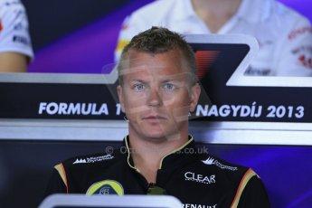 World © Octane Photographic Ltd. F1 Hungarian GP - Hungaroring. Thursday Press Conference. 25th July 2013. Lotus F1 Team E21 - Kimi Raikkonen. Digital Ref : 0756lw1d0492