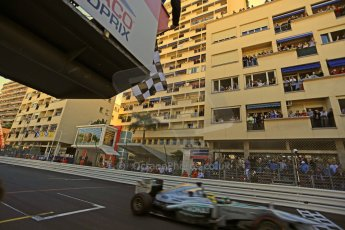 World © Octane Photographic Ltd. F1 Monaco GP, Monte Carlo - Sunday 26th May - Finish Line. Mercedes AMG Petronas F1 W04 - Nico Rosberg crosses the line and takes the chequered flag for victory!! Digital Ref : 0712lw1d1847