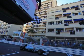 World © Octane Photographic Ltd. F1 Monaco GP, Monte Carlo - Sunday 26th May - Finish Line. Mercedes AMG Petronas F1 W04 – Lewis Hamilton crosses the line. Digital Ref : 0712lw1d1887