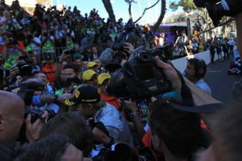 World © Octane Photographic Ltd. F1 Monaco GP, Monte Carlo - Sunday 26th May - Podium and celebrations. The press scrum around race winner Nico Rosberg of Mercedes AMG Petronas. Digital Ref : 0712lw1d1981