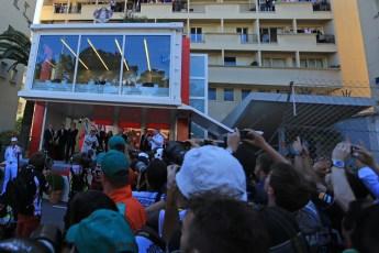 World © Octane Photographic Ltd. F1 Monaco GP, Monte Carlo - Sunday 26th May - Podium and celebrations. Nico Rosberg of Mercedes AMG Petronas starts his victory celebrations. Digital Ref : 0712lw1d2019