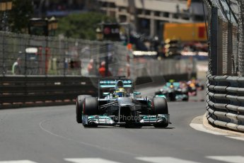 World © Octane Photographic Ltd. F1 Monaco GP, Monte Carlo - Sunday 26th May - Race. The Mercedes AMG Petronas F1 W04 of Nico Rosberg extends his lead over Lewis Hamilton into Casino Square. Digital Ref : 0711lw1d1290