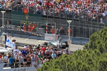 World © Octane Photographic Ltd. F1 Monaco GP, Monte Carlo - Sunday 26th May - Race. Mercedes AMG Petronas F1 W04 - Lewis Hamilton powers past the crowds and yachts. Digital Ref : 0711lw1d1492