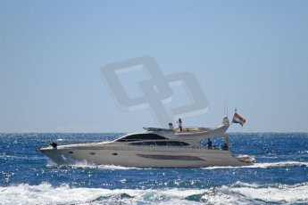 """World © Octane Photographic Ltd. The """"Riva 70 Dolce Vita"""" yacht on approach to the harbour. Digital Ref : 07137d3056"""