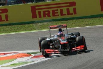 World © Octane Photographic Ltd. F1 Italian GP - Monza, Friday 6th September 2013 - Practice 2. Vodafone McLaren Mercedes MP4/28 - Jenson Button. Digital Ref : 0813lw1d2578
