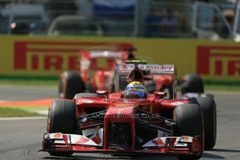 World © Octane Photographic Ltd. F1 Italian GP - Monza, Friday 6th September 2013 - Practice 2. Scuderia Ferrari F138 - Felipe Massa followed by team mate Fernando Alonso. Digital Ref : 0813lw1d2825