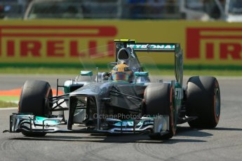 World © Octane Photographic Ltd. F1 Italian GP - Monza, Friday 6th September 2013 - Practice 2. Mercedes AMG Petronas F1 W04 – Lewis Hamilton. Digital Ref : 0813lw1d2859