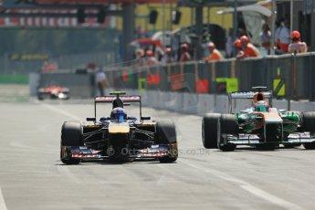 World © Octane Photographic Ltd. F1 Italian GP - Monza, Saturday 7th September 2013 - Qualifying. Scuderia Toro Rosso STR 8 - Daniel Ricciardo and Sahara Force India VJM06 - Paul di Resta. Digital Ref :