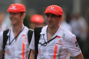 World © Octane Photographic Ltd. F1 Italian GP - Monza, Sunday 8th September 2013 - Paddock. Vodafone McLaren Mercedes - McLaren 50th anniversary team kit. Digital Ref :