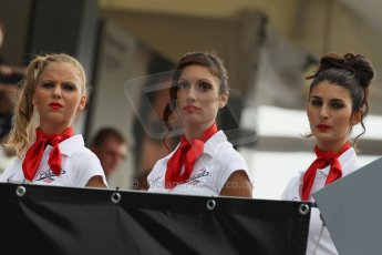 World © Octane Photographic Ltd. F1 Italian GP - Monza, Sunday 8th September 2013 - Podium. The grid girls line the approach to the podium. Digital Ref :