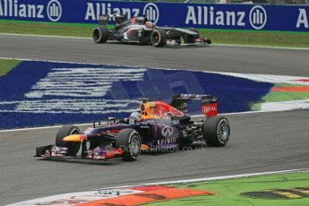 World © Octane Photographic Ltd. F1 Italian GP - Monza, Sunday 8th September 2013 - Race. Infiniti Red Bull Racing RB9 - Sebastian Vettel and Sauber C32 - Nico Hulkenberg. Digital Ref : 0824lw1d6056
