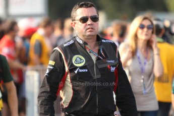 World © Octane Photographic Ltd. F1 Italian GP - Monza, Friday 6th September 2013 - Paddock. Lotus F1 Team E21 - Eric Boullier. Digital Ref : 0811cb7d4869