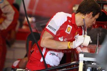 World © Octane Photographic Ltd. F1 Italian GP - Monza, Friday 6th September 2013 - Practice 1. Scuderia Ferrari pitcrew at work. Digital Ref : 0811cb7d5074