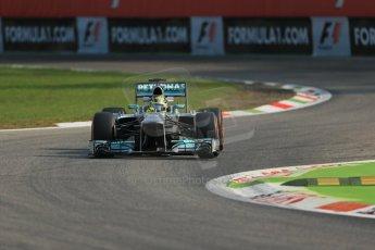 World © Octane Photographic Ltd. F1 Italian GP - Monza, Friday 6th September 2013 - Practice 1. Mercedes AMG Petronas F1 W04 - Nico Rosberg. Digital Ref : 0811lw1d1560