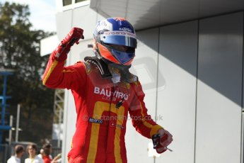 World © Octane Photographic Ltd. GP2 Italian GP, Monza, Saturday 7th September 2013. Race 1. Race winner Fabio Leimer celebrates in Parc Ferme - Racing Engineering. Digital Ref :