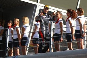 World © Octane Photographic Ltd. GP2 Italian GP, Monza, Saturday 7th September 2013. Race 1. Tom Dillmann (3rd) celebrates on his way to the podium – Russian TIME. Digital Ref :